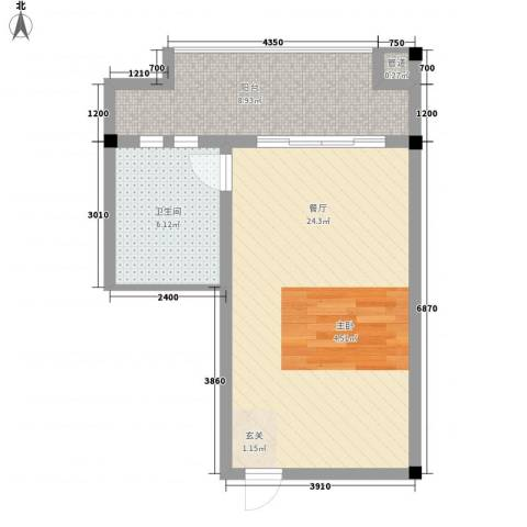 美丽春天温泉度假酒店公寓1厅1卫0厨58.00㎡户型图