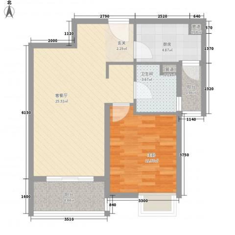 世茂世界湾1室1厅1卫1厨76.00㎡户型图