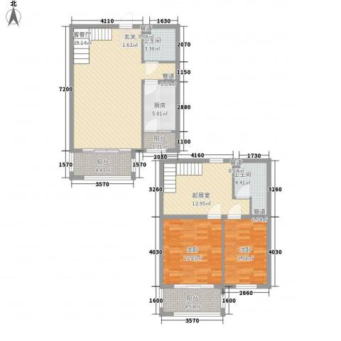 赋海世家2室1厅2卫1厨126.00㎡户型图