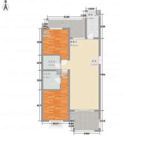 赋海世家2室1厅2卫1厨138.00㎡户型图