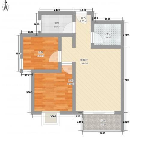 龙景尚都2室1厅1卫1厨67.00㎡户型图