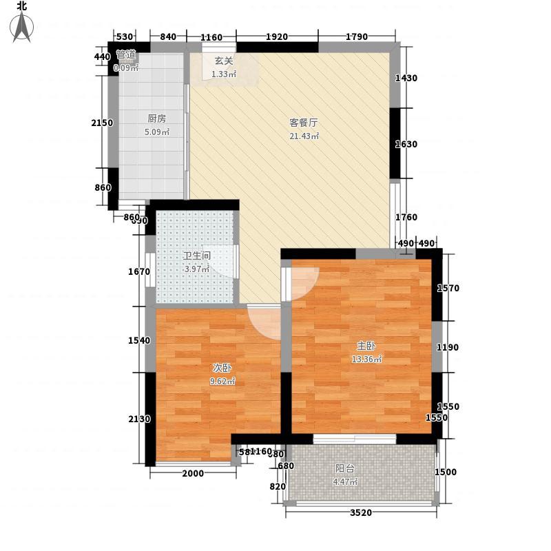 西郡188花园82.40㎡两居户型2室1厅1卫1厨
