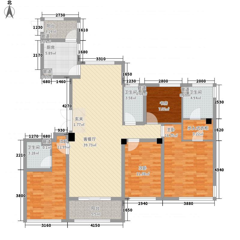 东方一品17.00㎡B户型4室2厅3卫1厨