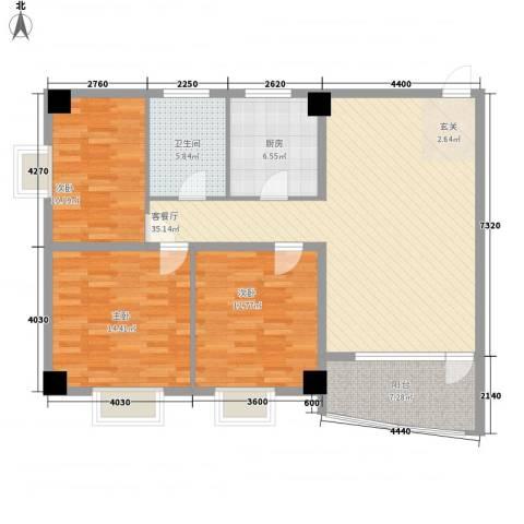 昌源胜景3室1厅1卫1厨92.17㎡户型图