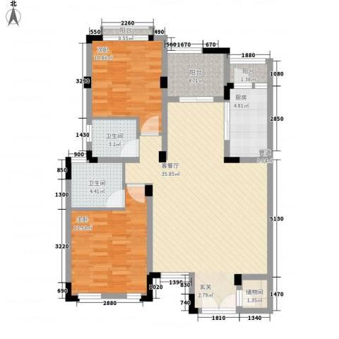 海昌加勒比2室1厅2卫1厨87.00㎡户型图