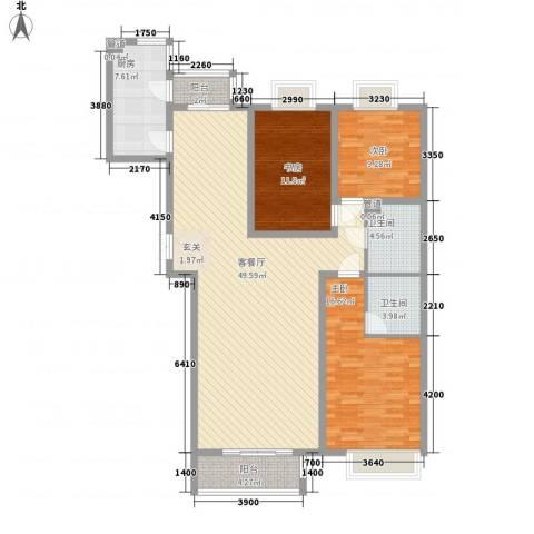 赋海世家3室1厅2卫1厨156.00㎡户型图