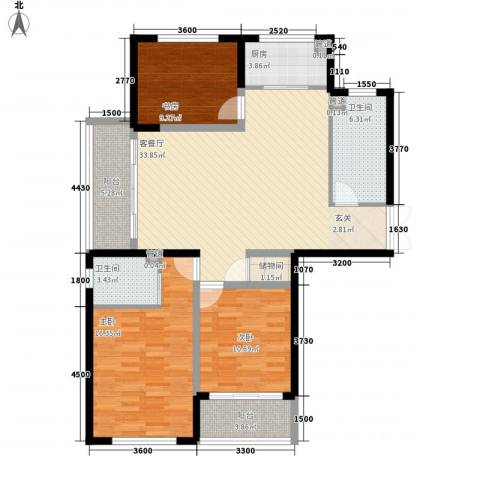 胜利新村3室1厅2卫1厨94.33㎡户型图