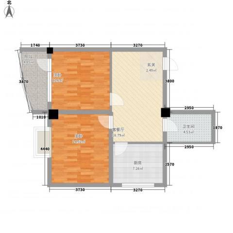 昌源胜景2室1厅1卫1厨87.00㎡户型图