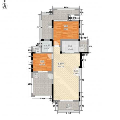 复地山与城2室1厅1卫1厨125.00㎡户型图