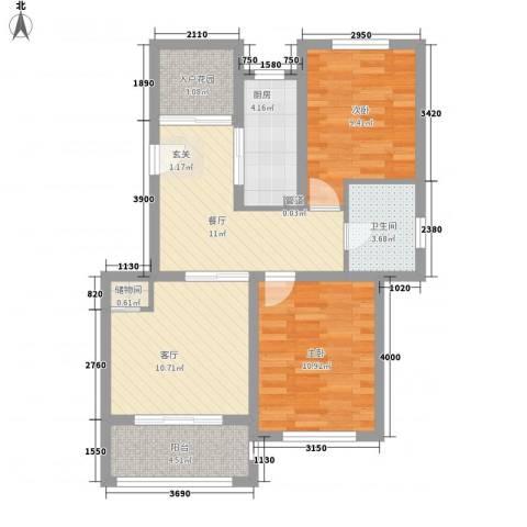 宝华海湾城2室2厅1卫1厨86.00㎡户型图
