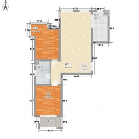 赋海世家2室1厅1卫1厨115.00㎡户型图