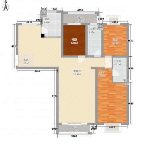 赋海世家3室1厅2卫1厨154.00㎡户型图