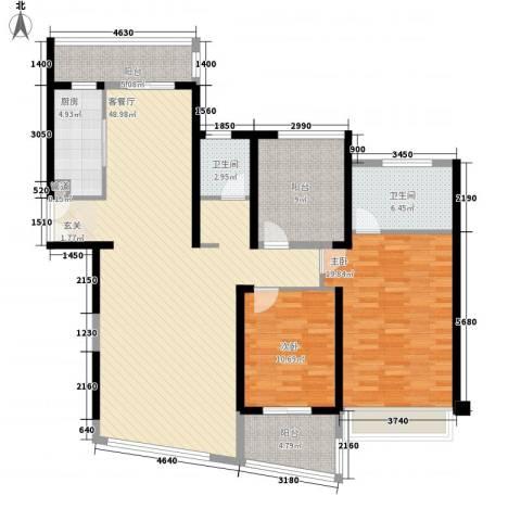 国贸宿舍2室1厅2卫1厨160.00㎡户型图