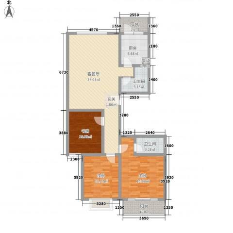 银海水韵3室1厅2卫1厨133.00㎡户型图