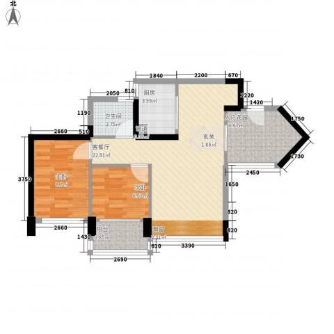 新德家园2室1厅1卫1厨77.00㎡户型图