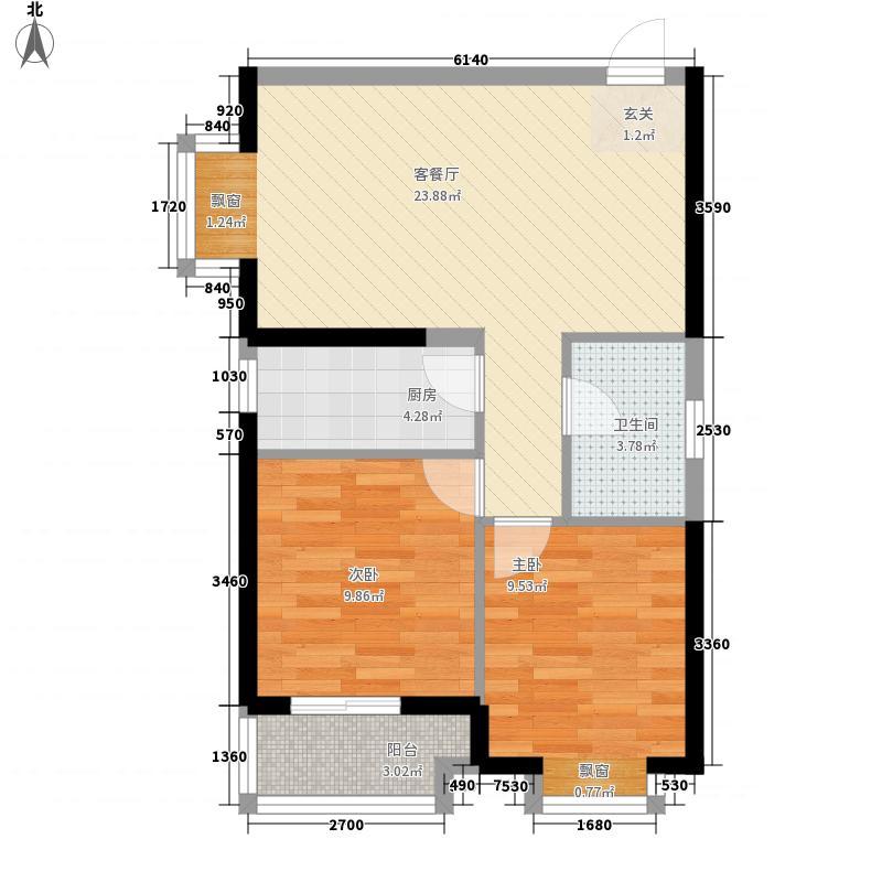 升龙凤凰城77.40㎡D区F6户型2室2厅1卫1厨