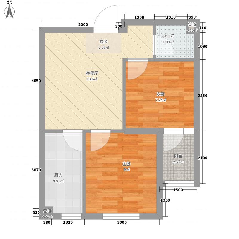 儒林庭枫57.77㎡G户型2室2厅1卫1厨