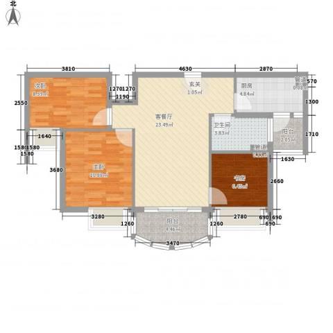碧桂园凰城3室1厅1卫1厨93.00㎡户型图