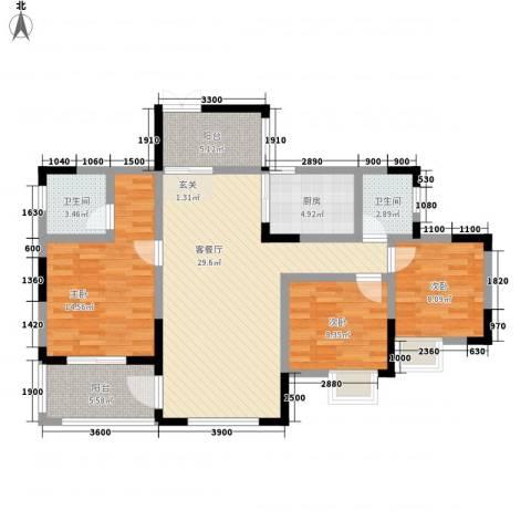 复地山与城3室1厅2卫1厨121.00㎡户型图