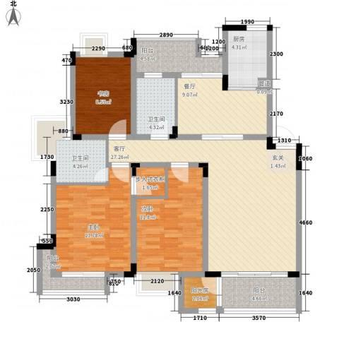 胜利新村3室2厅2卫1厨98.51㎡户型图