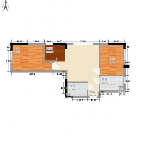 富腾天下城2室1厅1卫1厨72.00㎡户型图