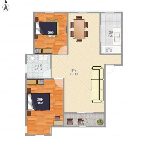 格之林花园2室1厅1卫1厨96.00㎡户型图