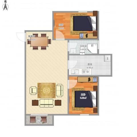 朗庭上郡苑-211-582室1厅1卫1厨72.00㎡户型图