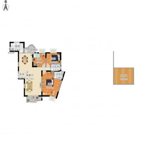 金星家园3室1厅2卫1厨163.00㎡户型图