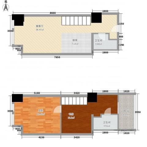 方恒・偶寓空间2室1厅2卫0厨86.06㎡户型图