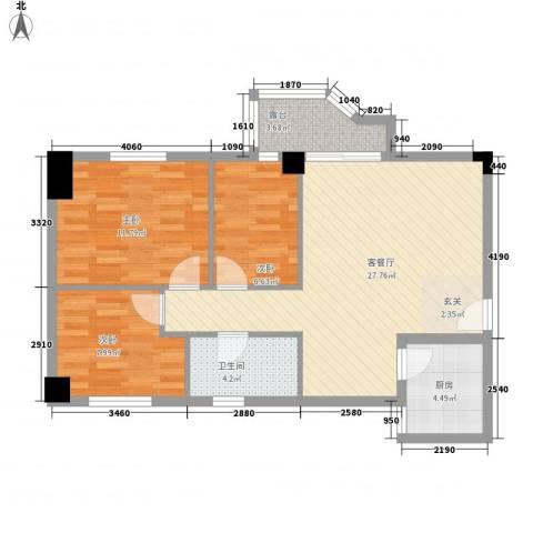 祥和花园3室1厅1卫1厨95.00㎡户型图
