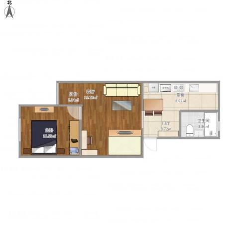 龙华园东区1室1厅1卫1厨57.00㎡户型图