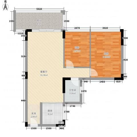 盈彩美地2室1厅1卫1厨75.00㎡户型图