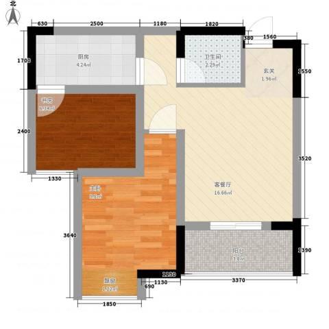 永缘寓乐圈2室1厅1卫1厨43.13㎡户型图