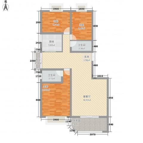 现代逸城3室1厅2卫1厨143.00㎡户型图