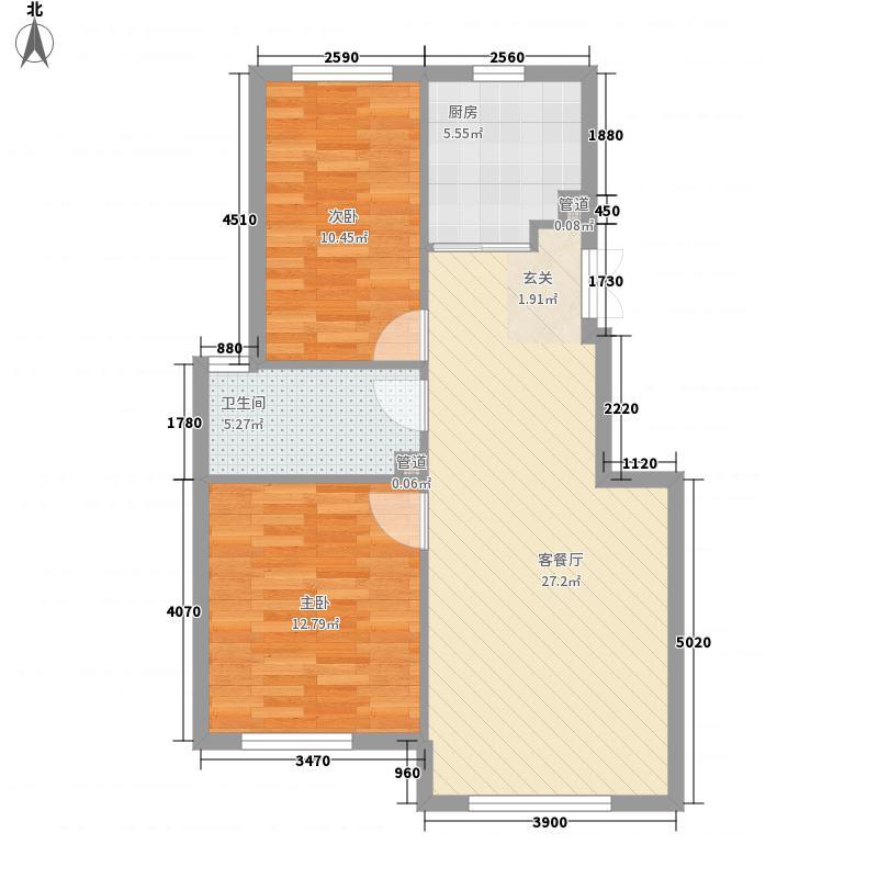 春柳公园项目85.25㎡20#楼M户型2室2厅1卫1厨