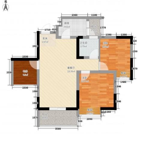 永缘寓乐圈3室1厅1卫1厨59.85㎡户型图