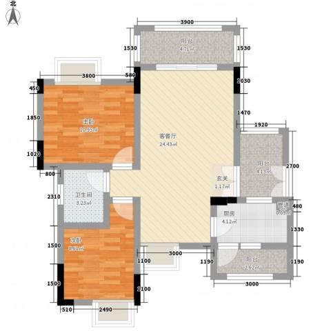 复地山与城2室1厅1卫1厨93.00㎡户型图