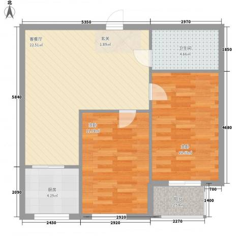圣韬万福居2室1厅1卫1厨82.00㎡户型图