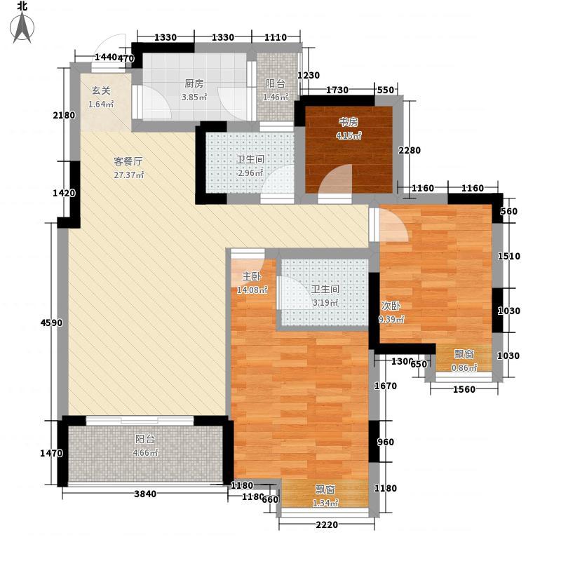 永缘寓乐圈77.78㎡一期电梯小高层10号楼标准层C户型2室2厅2卫1厨