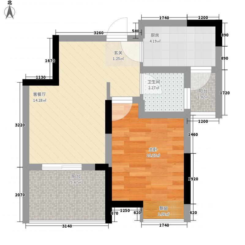 永缘寓乐圈4.40㎡一期电梯小高层2号楼标准层B户型1室1厅1卫1厨