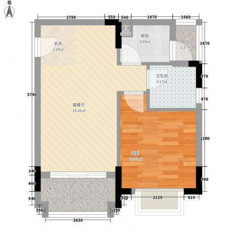 阳光粤港三期1室1厅1卫1厨57.00㎡户型图