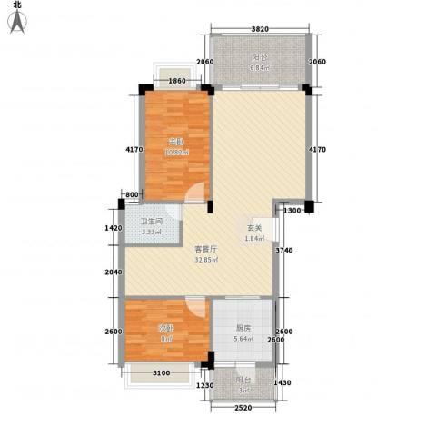 盈彩美地2室1厅1卫1厨132.00㎡户型图