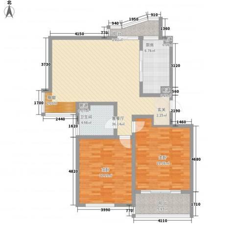 金地苑2室1厅1卫1厨132.00㎡户型图