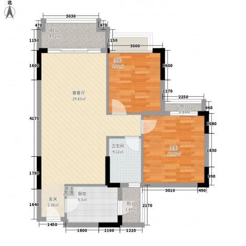 阳光粤港三期2室1厅1卫1厨89.00㎡户型图