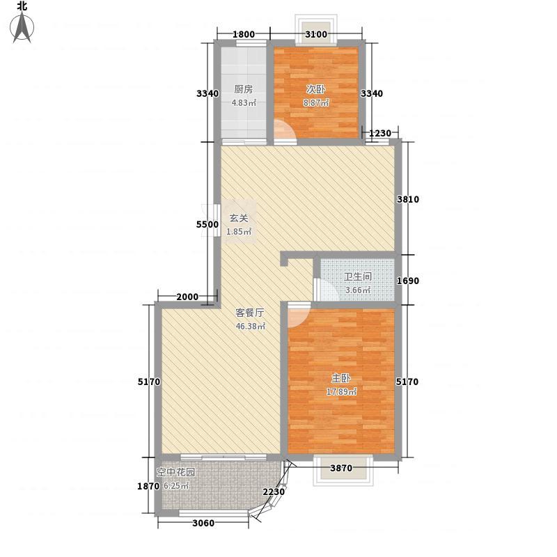 现代逸城124.85㎡15/16号楼2/3单元偶数层户型2室2厅1卫1厨