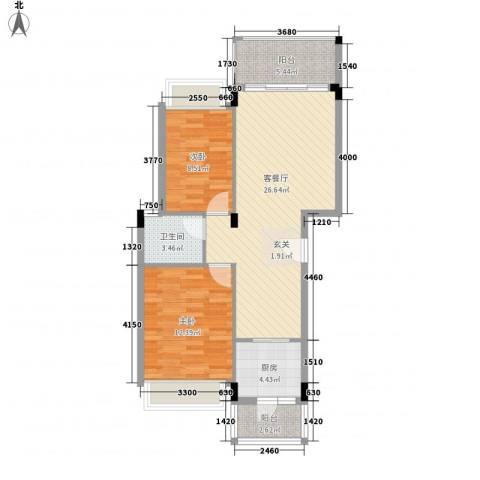 盈彩美地2室1厅1卫1厨86.00㎡户型图