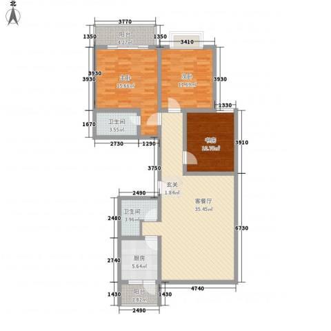 银海水韵3室1厅2卫1厨135.00㎡户型图
