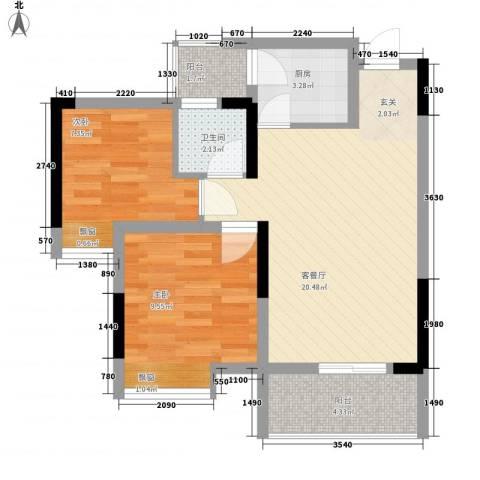 永缘寓乐圈2室1厅1卫1厨54.00㎡户型图