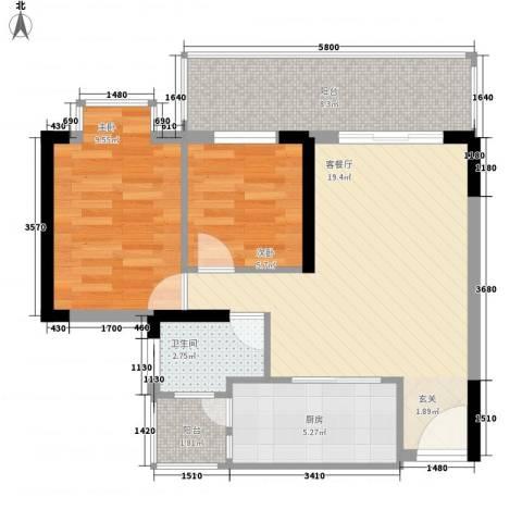 钱江花园2室1厅1卫1厨75.00㎡户型图