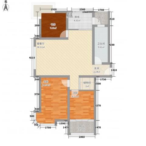 银河花园3室1厅1卫1厨112.00㎡户型图